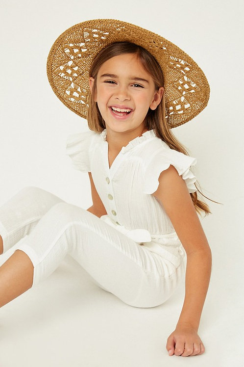 Ruffle Sleeve Belted Button Down Jumpsuit