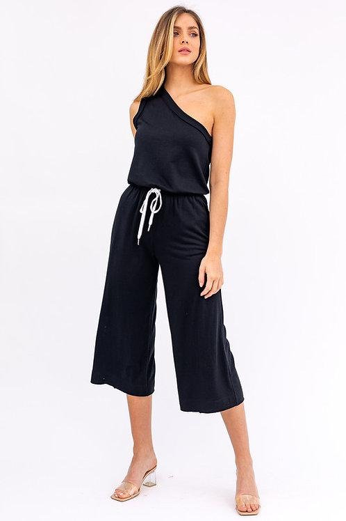 One Shoulder Drawstring Jersey Jumpsuit