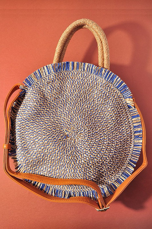 Tassel Detail Circle Tote Bag with Detachable Straps