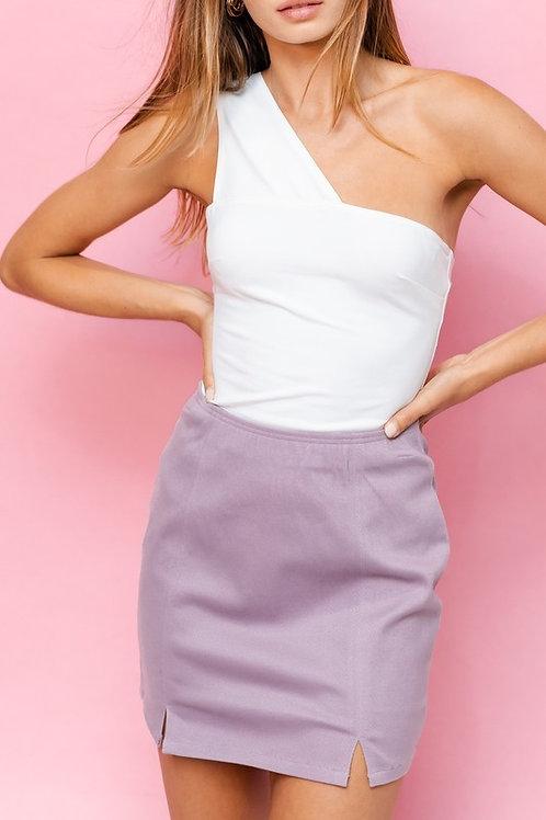 One Strap Bodysuit Top - White