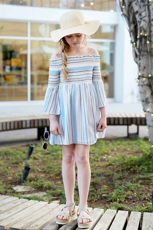 Striped Off The Shoulder Bell Sleeve Dress