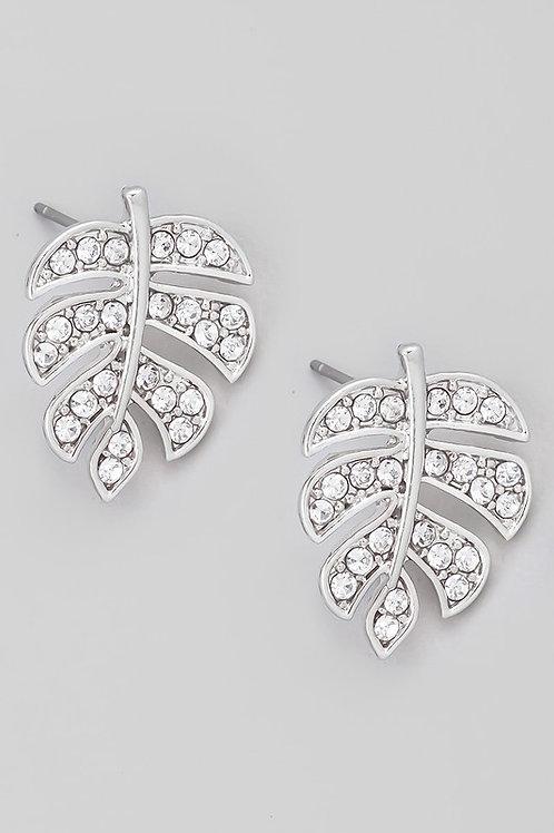 Pave Monstera Leaf Stud Earrings (Silver)