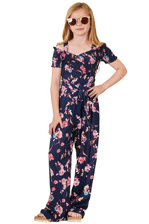 Floral Cold Shoulder Smocked Bodice Belted Jumpsuit - Navy (Preorder)