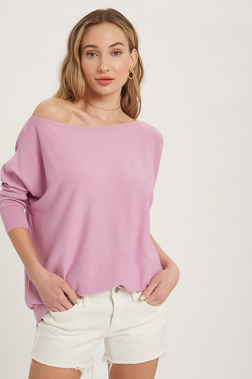 Boat Neck Batwing Sleeves Top