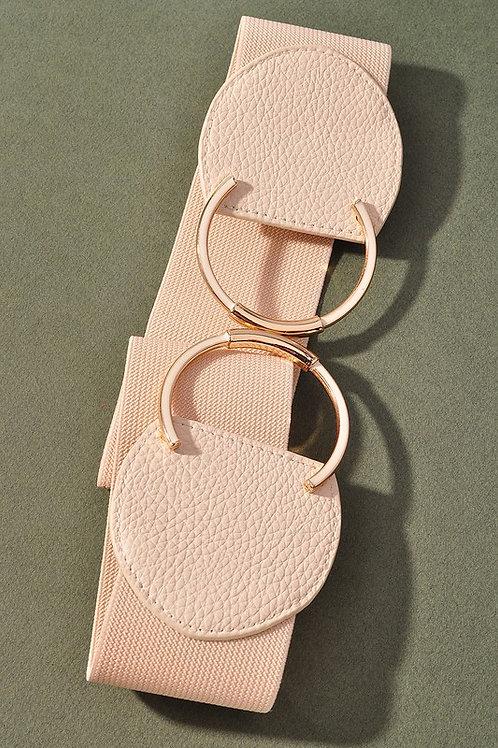 Faux Ring Detail Belt - Camel