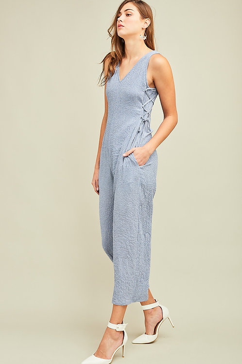 The Justine Sleeveless V-Neck Side Laced Up Jumpsuit