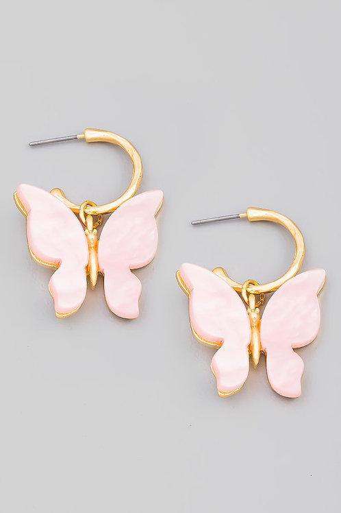 Small Hoop Butterfly Drop Earrings
