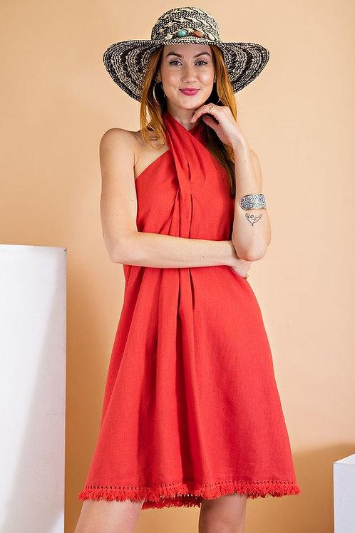 Halter Neckline Linen Cotton Blend Fringe Hem Shift Dress