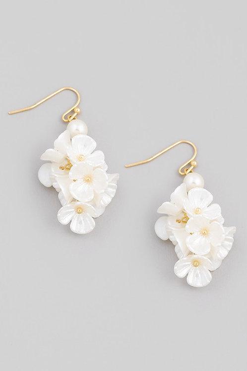 Flower Bunch Drop Earrings - White