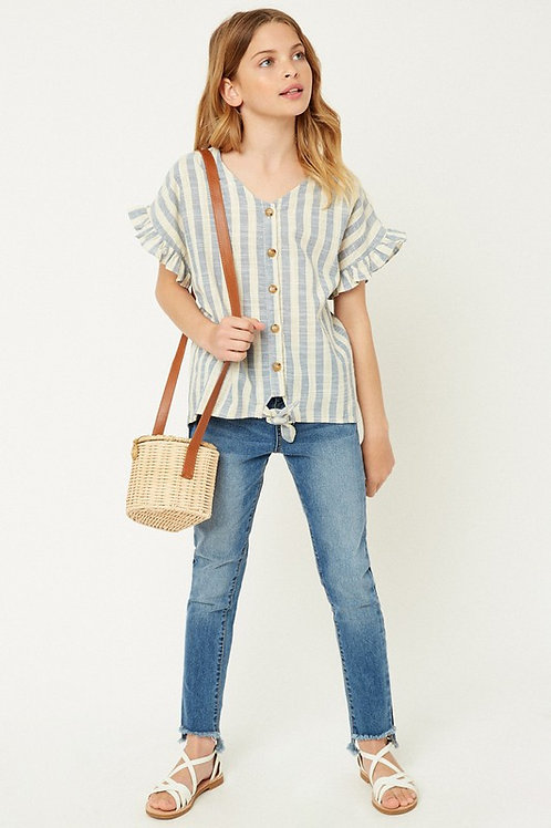 Striped Linen Button Down Tie Front Ruffle Sleeve Top