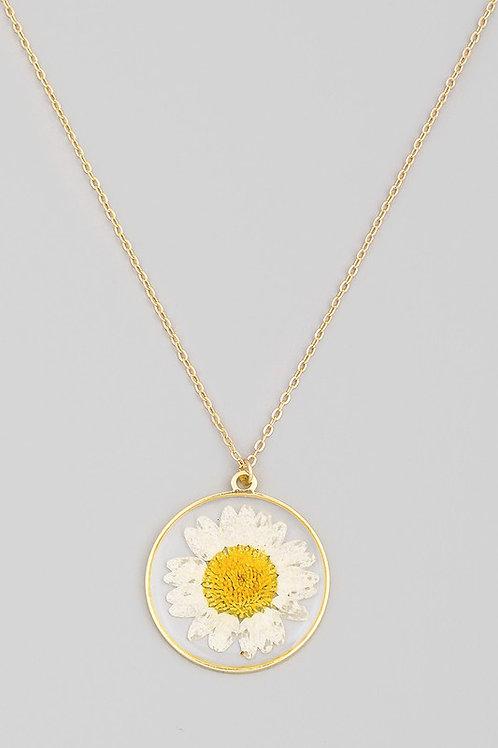 Sunflower Circle Disc Pendant Necklace