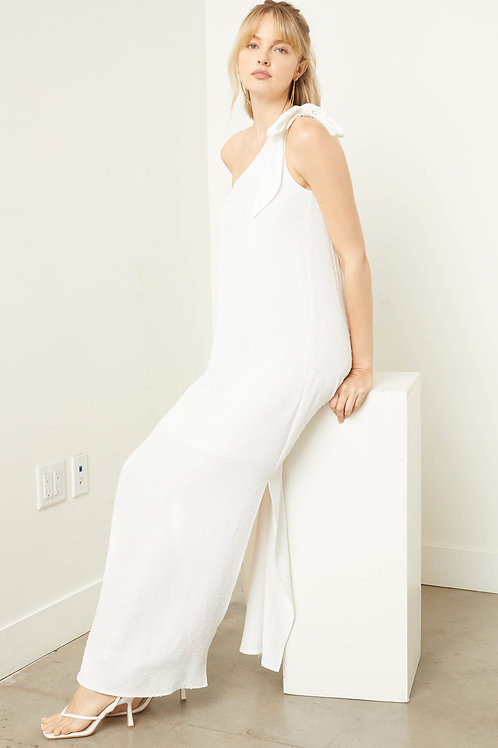 One Shoulder Swiss Dot Bow Strap Maxi Dress
