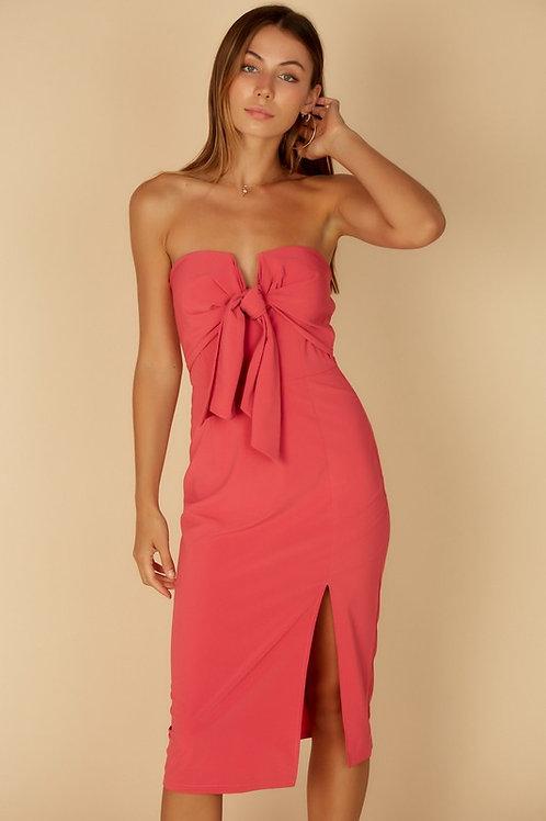 Strapless Tie Front Midi Dress