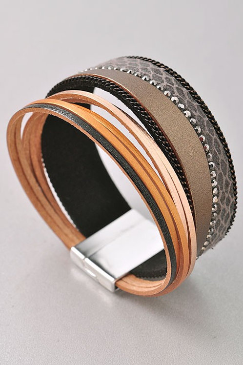 Leather Animal Print Magnetic Clasp Bracelet