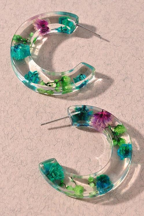 Multi-colour Floral Hoop Earrings