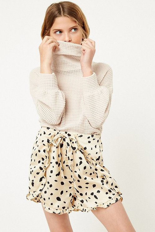 Polka Dot Tie Front Ruffle Detail Shorts