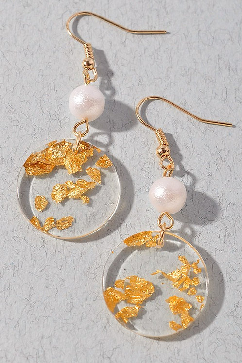 Circle Gold Pieces Drop Earrings
