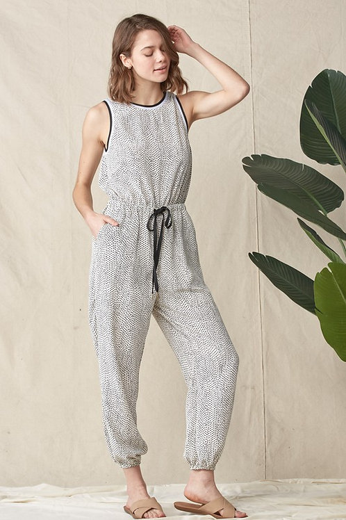 Sleeveless Dotted Drawstring Back Button Detail Jumpsuit
