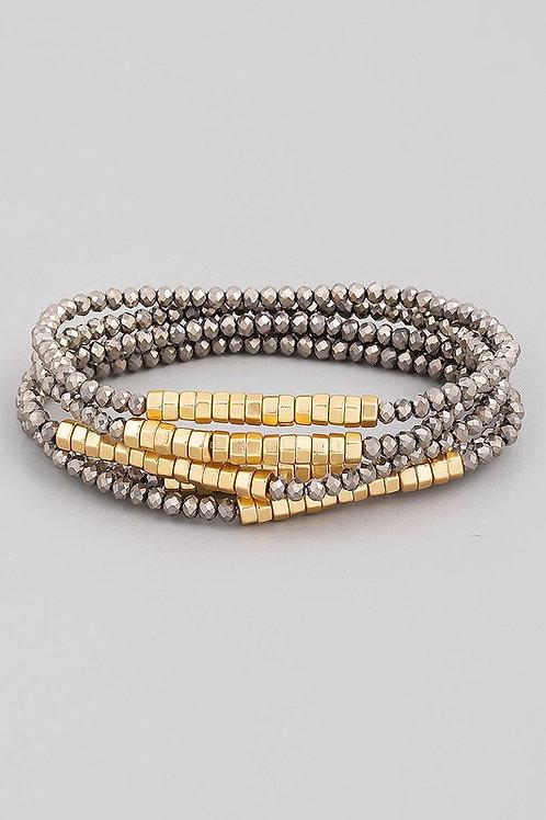 Beaded Bracelet Set - Hematite