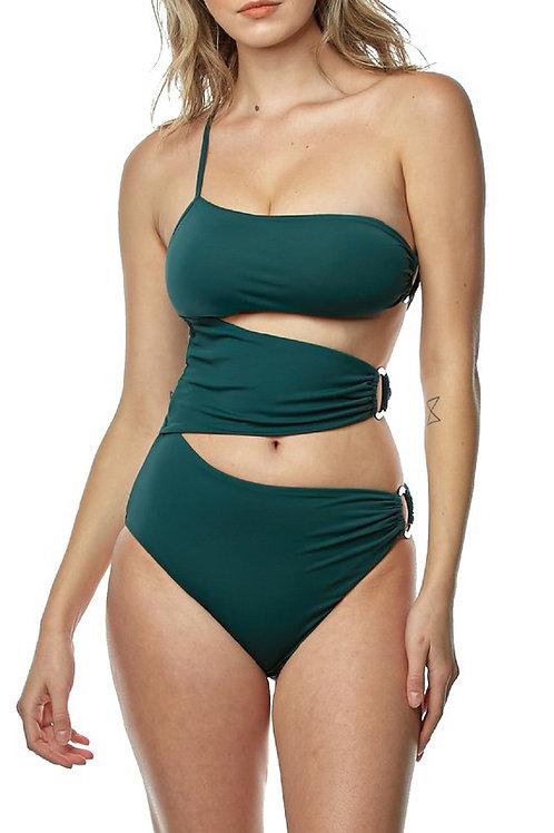 Asymmetric Side Buckle Cut Out Swimsuit