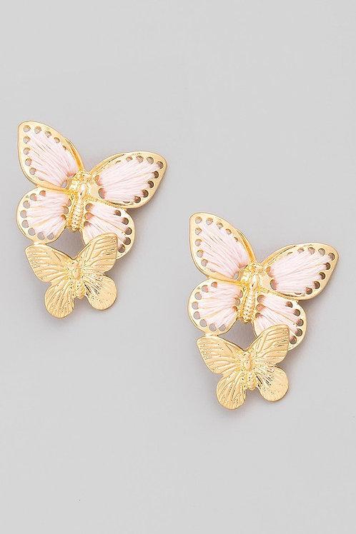 Threaded Butterfly Drop Earrings - Pink