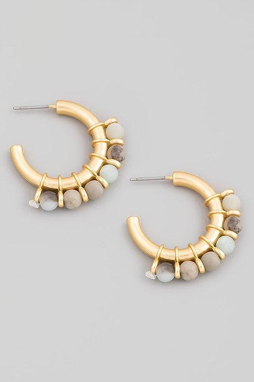 Mini Amazonite Bead Hoop Earrings