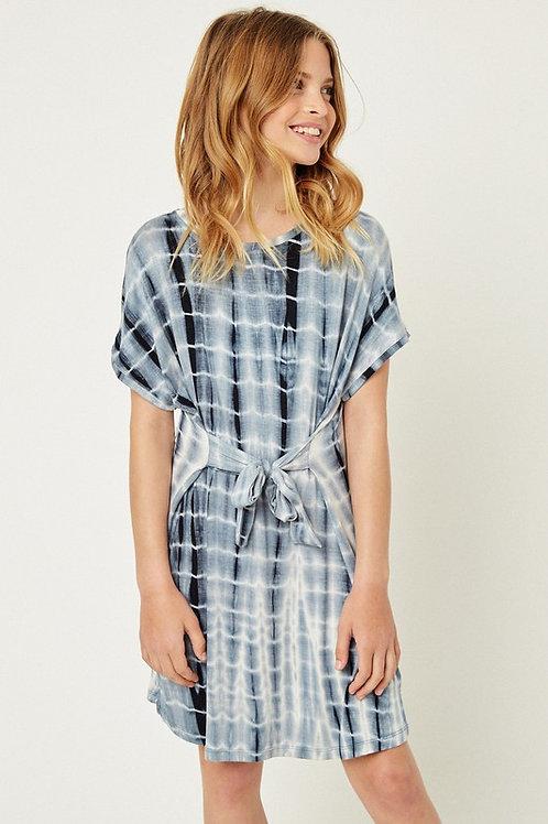Tie Dye Short Sleeve Tie Front Dress