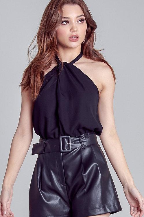 Gathered Halter Bodysuit Top - Black