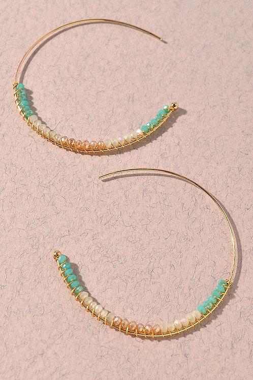 Bead Hoop Earrings  - Mint