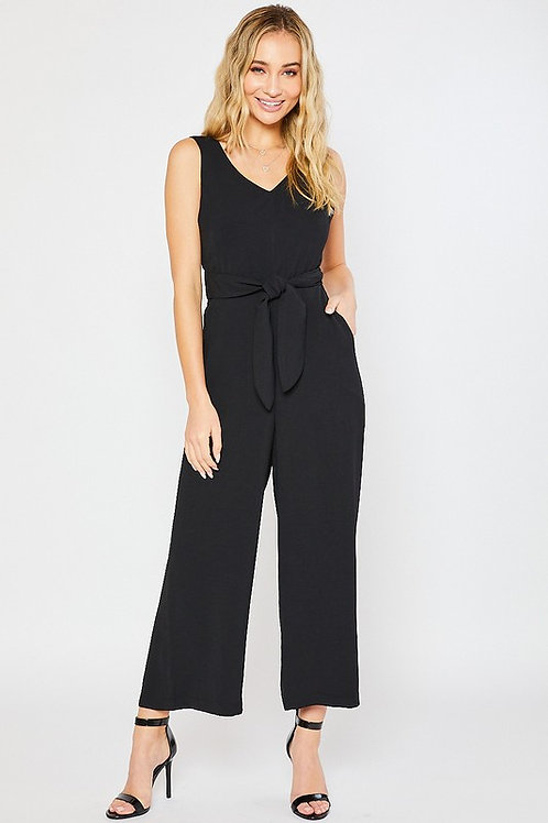 Sleeveless Tie Front Back Cut Out Jumpsuit