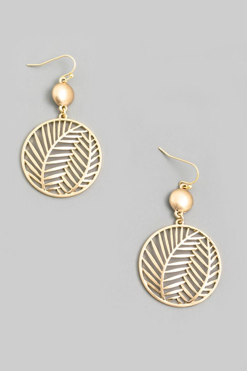 Gold Circle Leaf Coin Drop Earrings