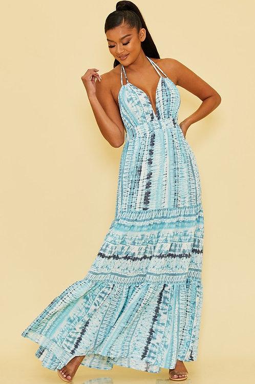 Striped Tie Dye Effect Halter Maxi Dress (Preorder)