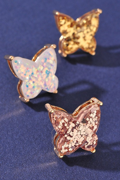 Rose Gold Sparkly Butterfly Stud Earrings