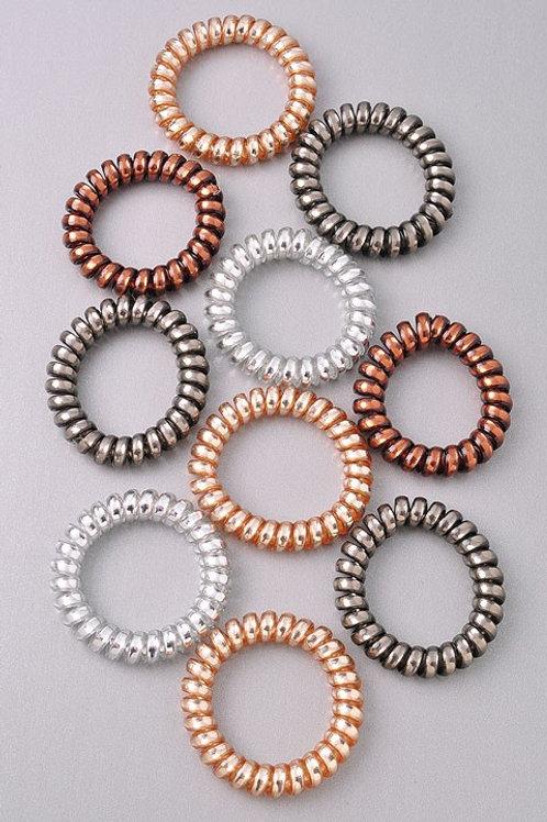 Multi-color Neutral Metallic Coil Hair Bands