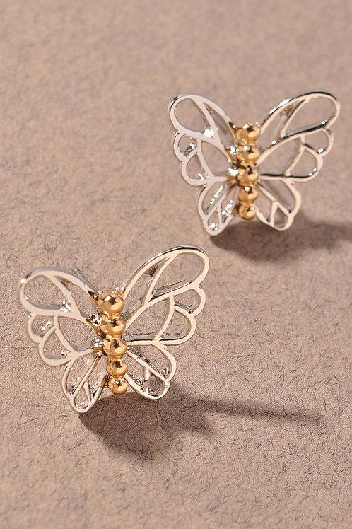 Silver/Gold Butterfly Stud Earrings (Preorder)