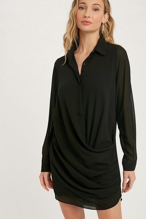 Draped Front Long Sleeve Shirt Dress