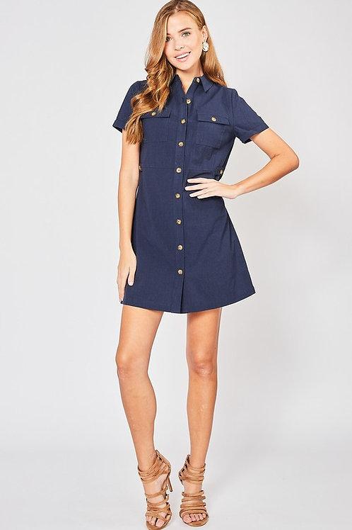 Short Sleeve Button Down Cargo Dress