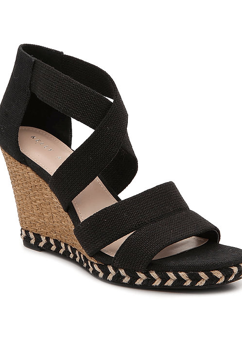 Contrast Espadrille Crisscross Strap Wedge Sandals