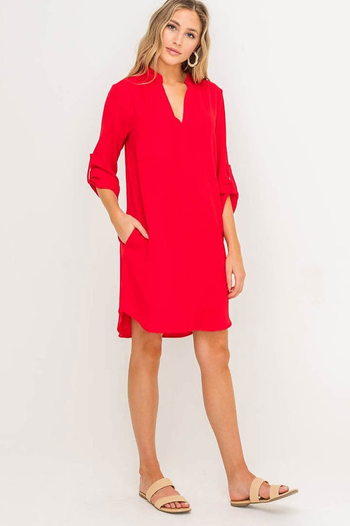 V Neck Shirt Dress With Side Pockets