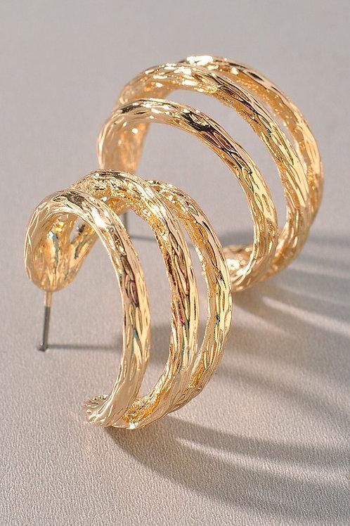 Textured Gold Strands Hoop Earrings (Preorder)