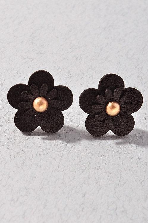 Black Leather Flower Gold Stud Earrings
