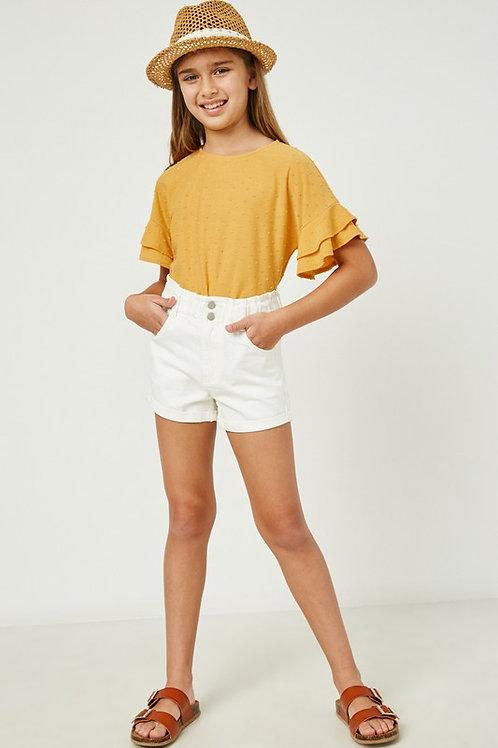 High Waist Double Button Cotton Denim Shorts