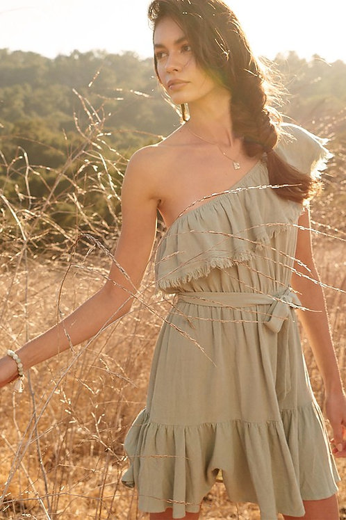 One Shoulder Ruffle Detail Raw Hem Belted Dress