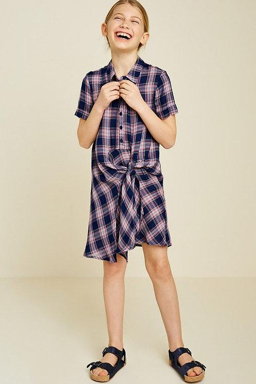 Plaid Tie Front Shirt Dress