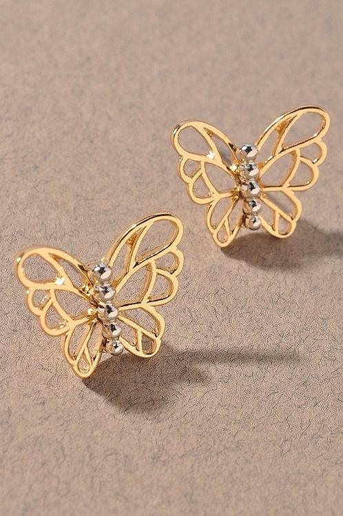 Gold/Silver Butterfly Stud Earrings (Preorder)