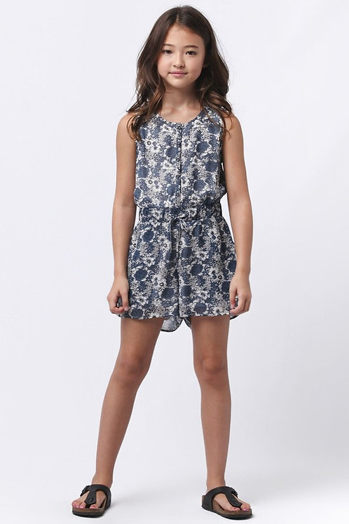 Floral Print Chambray Romper