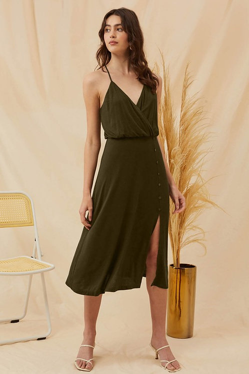 Surplice Button Detail Dress With Side Slit