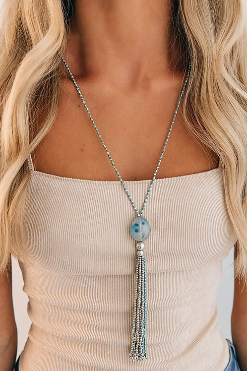 Blue/Silver Bead Stone Tassel Detail Necklace