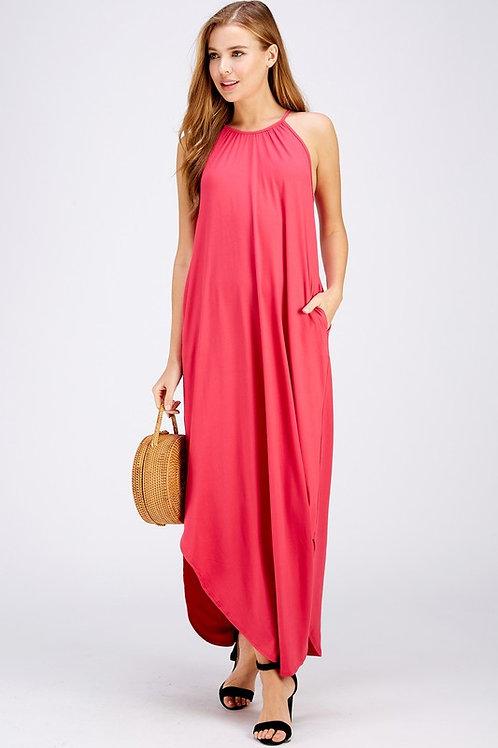 Halter Neckline Maxi Dress With Side Pockets (Preorder)