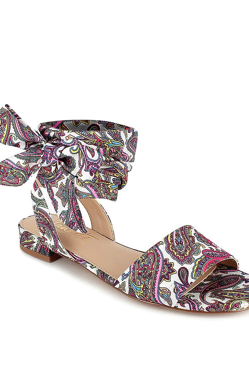 Paisley Print Fabric Tie Ankle Sandals